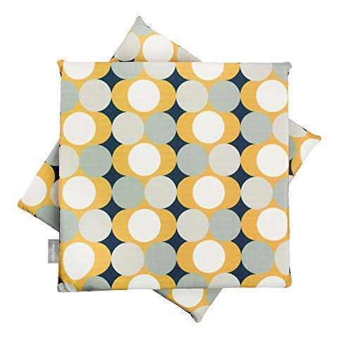 Celina Digby Set van 2 Designer Fluwelen Kussen Zitkussens voor Eetstoel Keukenbank, Zacht Schuim, Verwijderbaar, Maat 36cm 14