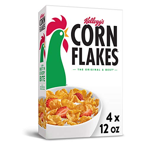 Corn Flakes Breakfast Cereal, Original, Fat Free, 12oz Box(Pack Of 4), 48 Oz