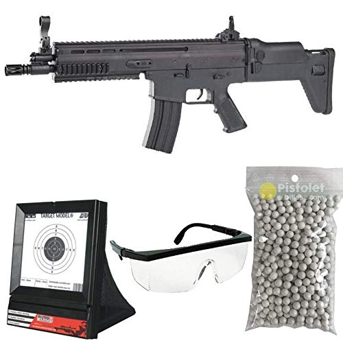 PC Airsoft Paquete Completo con Accesorios - Arma para Airsoft, Modelo Fn Scar L, con Resorte, 0,5 Julios, Color Negro, Recarga Manual