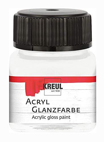 Kreul 79218 - Acryl Glanzfarbe, 20 ml Glas in farblos, glänzend-glatte Acrylfarbe zum Anmalen und Basteln, auf Wasserbasis, speichelecht, schnelltrocknend und deckend
