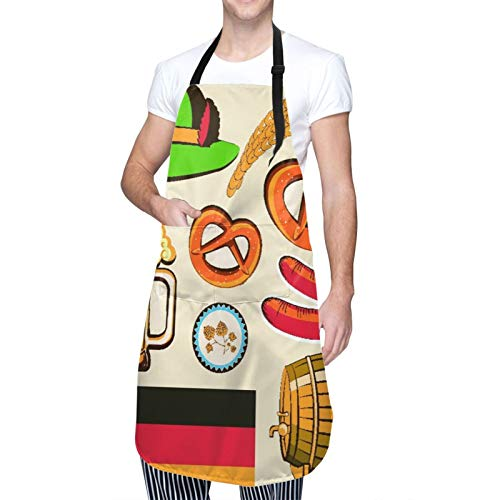 Ajustable Colgante de Cuello Personalizado Delantal Impermeable,Símbolo de Oktoberfest, salchicha de trigo, cerveza y pretzels, colorido arreglo bávaro,Babero de Cocina Vestido con 2 Bolsillos