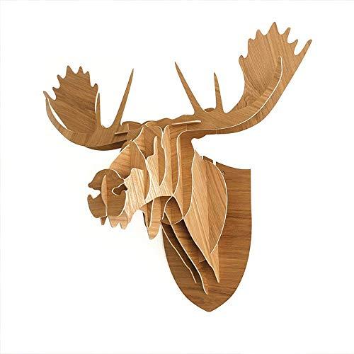 TOPNIU 3D Rompecabezas de madera Kit de construcción Cabeza animal Arte de la pared Escultura Mousse Headwall Decoración de madera Nórdica pared Colgante Colgante Montaje de pared Escultura Moose Deer