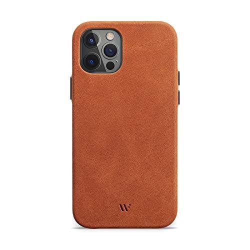 WIIUKA Hülle für iPhone 13 Pro Max, Deutsches Leder, Lederhülle extra Dünn, Premium Handyhülle, Hülle, Qi, Vintage Braun