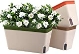 Jardinière à arrosage Automatique Rectangle 10,5 Pouces Lot de 3, Pot de Plante en Plastique avec fenêtre de Niveau d'eau visuel Pot de Fleur de Jardin décoratif d'intérieur (Vert/Marron/Orange)