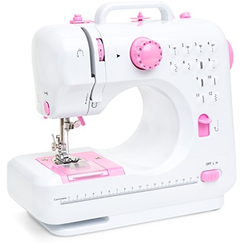 Best Choice Products 6V Multifunctional Compact Sewing Crafting Machine w/ 12 Stitch Patterns, Sewing Light, Drawer, Foot Pedal, White