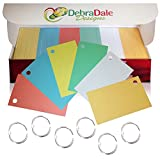 Debra Dale Designs Blank Index Cards with Rings in 6 Colors; 1,100 Index Cards - Single Hole Punched, 2 x 3.5 inches for Learning, Note Taking, Memory Drills, Site Cards