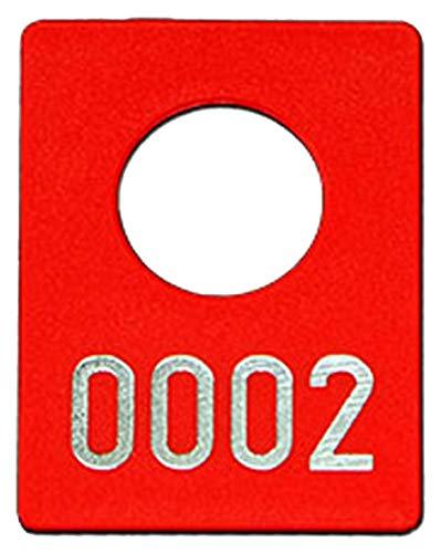 300 Garderobenmarken Kunststoff, Plastik mit Ziffernprägung # 0001-0300, Farbe wählbar (rot)