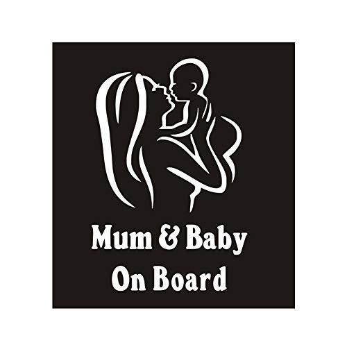 Lichi Autocollant en vinyle pour fenêtre et pare-chocs de voiture Inscription Baby & Mum on Board