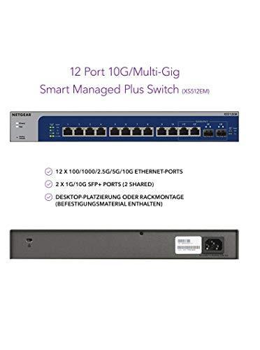 NETGEAR XS512EM 12 Port 10GbE Multi-Gigabit LAN Switch Plus (mit 2x 10G SFP+, Managed mit IGMP, QoS, VLAN, Desktop oder 19 Zoll Rack-Montage, ProSAFE Lifetime-Garantie)