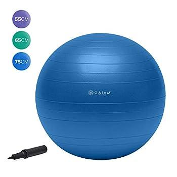 Gaiam Total Body Balance Ball Kit - Includes 75cm Anti-Burst Stability Exercise Yoga Ball Air Pump Workout Program