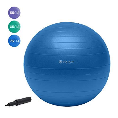 Gaiam Total Body Balance Ball Kit - Includes 75cm Anti-Burst Stability Exercise Yoga Ball, Air Pump, Workout Program