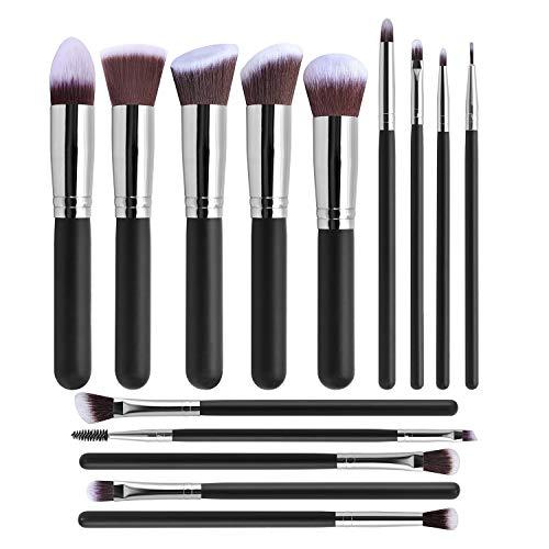 Beauté 14 pcs pinceau fond de teint pinceaux de maquillage beauté Outils Ensembles (Size : Light silver and magnetic buckle bag)