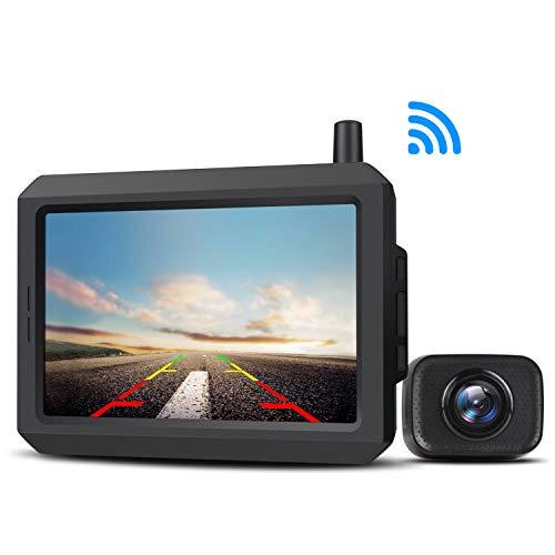 AUTO-VOX W7 Cámara de marcha atrás digital inalámbrica con monitor LCD de 5 pulgadas, cámara de visión trasera estable, IP68 resistente al agua