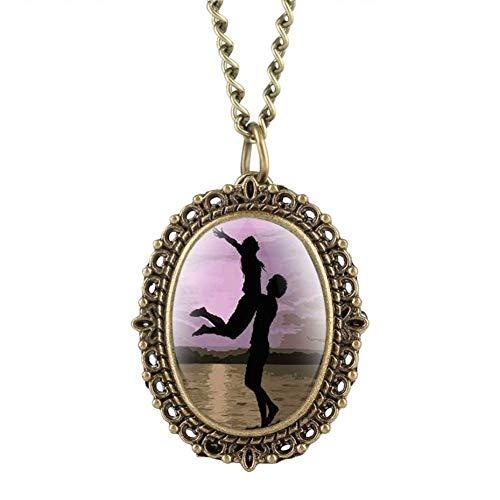 J-Love Elegante Mini-Größe Oval Quarz Taschenuhr Halskette Paare Liebhaber Muster Frauen Uhren Damen Zeitmesser Anhänger