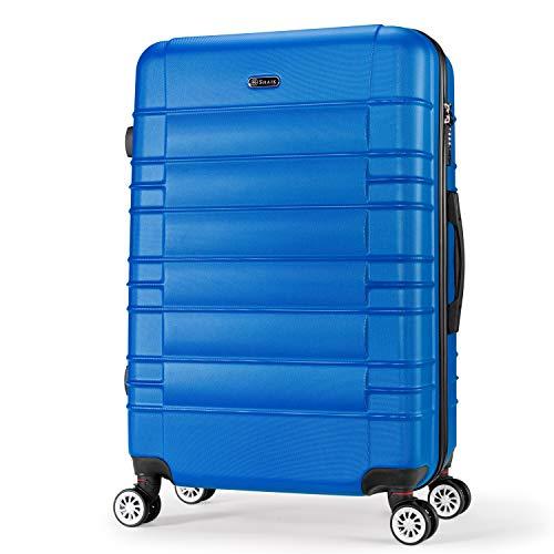SHAIK SerieCLASSIC JFK Design Hartschalen Trolley, Koffer, Reisekoffer 4 Doppelrollen Zwillingsrollen, Zahlenschloss (Handgepäck, Dunkelblau)