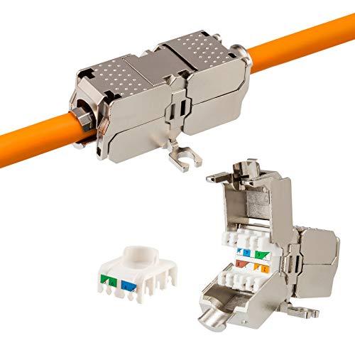 HB-DIGITAL Netzwerk Kabel Verbinder Cat6a 10Gbit Kupplung Verlängerung werkzeuglos LAN LSA