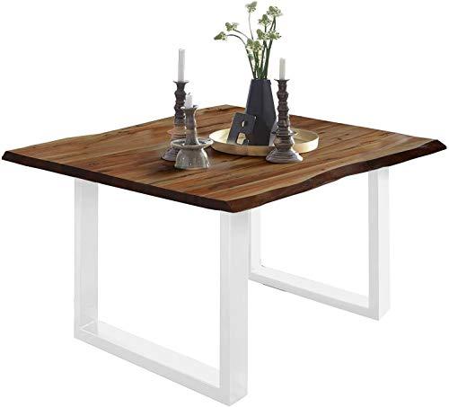 SAM Esszimmertisch 80 x 80 cm Mephisto, Baumkantentisch nussbaumfarben, Akazienholz massiv, U-Gestell aus Metall weiß