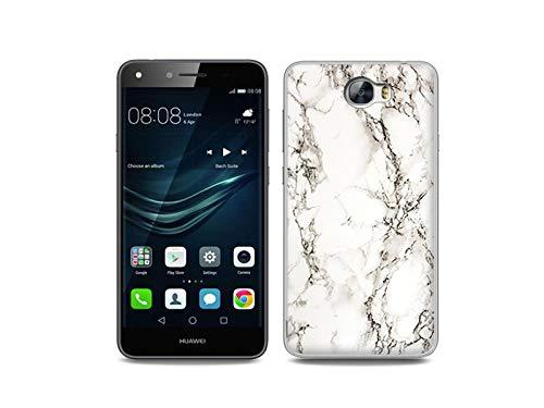 etuo Handyhülle für Huawei Y6 II Compact - Hülle, Silikon, Gummi Schutzhülle - Weißer Marmor
