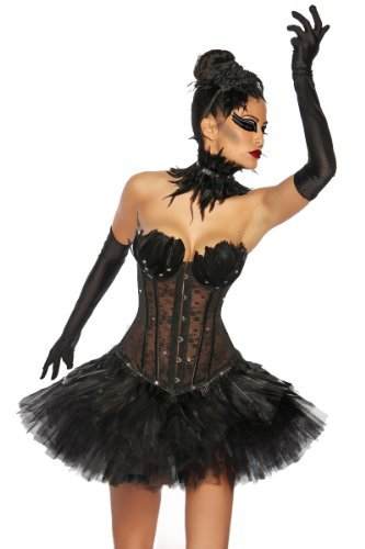 Corsetto Black Swan di alta qualità con piume e strass – con collare, nero, taglia. S - XL (13174) nero 38