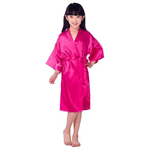 Miyanuby Filles Satin Kimono Robe De Mode Peignoir Soie Vêtements de Nuit et Peignoirs/Chemises de Nuit pour Spa Party De Mariage d'anniversaire Cadeau pour Enfants 3-14 Ans