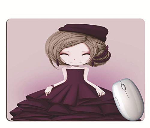 Game Mouse Pad, Dressed In Purple Delicate Clothes, Smiling Cartoon Girl, Wearable Rubber, Computer Game Mouse Pad