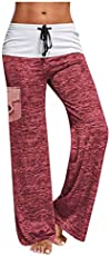 Smileyth Women Wide Leg Lounge Pants Elastic Waist Drawstring Side Pocket Long Loose Casual Pajama Pants Yoga Trousers