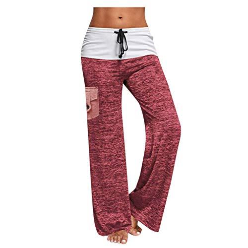 KUDICO Damen Weite Beine Lange Hose,Hohe Taille Tunnelzug Locker Schlafhose Seitentaschen Freizeithose Pyjamahosen für Workout Yoga (Rosa,XXL)