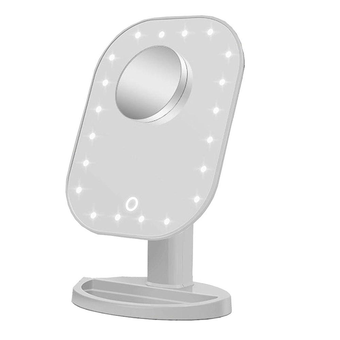 クローンキルス実際USB LEDメイクアップミラー、1倍/ 10倍の倍率のタッチセンサー式メイクアップミラー、180°回転美容ミラー、ホームデスクトップのバスルームのシャワーギフトに最適 (ホワイト)