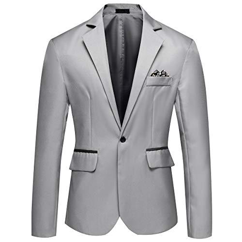 YOUTHUP Herren Sakko Fitness Sportlich Anzugjacke Business Freizeit Slim Fit Blazer Coat (L, Grau)