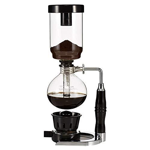 Feixunfan Siphon Kaffeemaschine Manuelle Kaffeemaschine Siphon Kanne Haushalt Glas Siphon Maker für Zuhause Coffee Shop für Kaffee und Tee, glas, Schwarz , 37x15.7cm