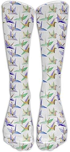 Shotngwu Origami Cranes Kompressionssocken für Fußballsocken hohe Socken für Laufen, Medizin, Athletik, Ödeme, Diabetiker, Krampfadern, Reisen, Schwangerschaft, Schienbeinschienen
