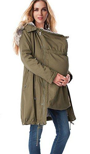 D-Pink 3 in1 Tragejacke Umstandsjacke Parka Damen Kapuzen Wattierte Jacke herausnehmbaren Einsatz Langarm (Armee Grün-Padded, S)