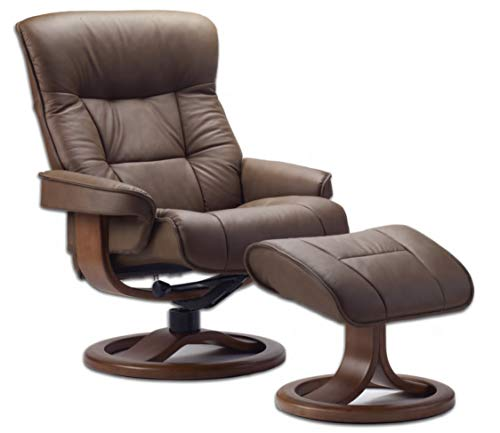 Fjords Bergen Large Leather Ergonomic Recliner Chair with Ottoman in Havana NL 120 Nordic Line Leather with a Chocolate Wood Stain Base