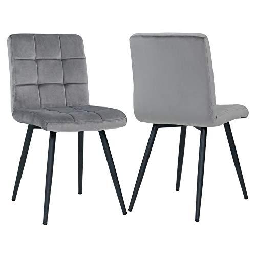 Esszimmerstuhl aus Stoff Samt Farbauswahl Stuhl Retro Design Polsterstuhl mit Rückenlehne Metallbeine Duhome 8043B, Farbe:Grau, Material:Samt