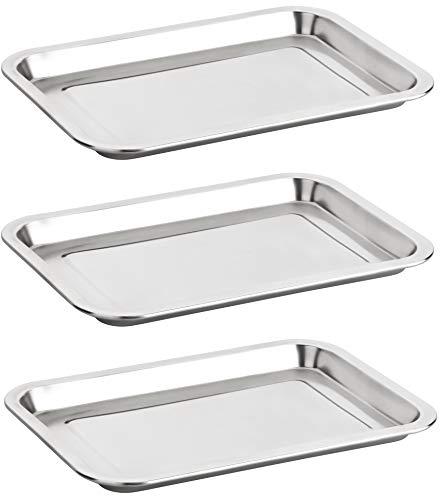 Alpha-Stahl Edelstahl Serviertablett 32x22cm – Poliertes Tablett/Tabletts für Gastronomie & Haushalt – auch als Essens-Platte (2er oder 3er Pack) (2)