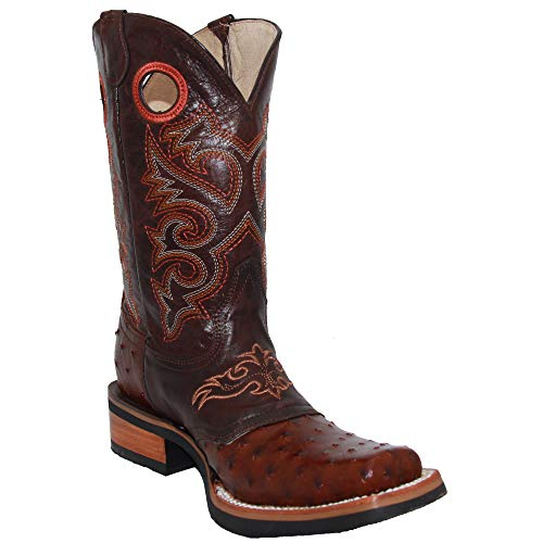 Western Shops Mens Genuine Cowhide Leather Square Toe Ostrich Quill Print Western Cowboy Boots (6.5, Honey)