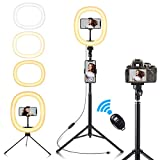 10' Anillo de Luz Led Fotográfica,Fuloon Aro de Luz Para Movil Tripode,Ring Light con Wireless Control Remoto 3 Colores...