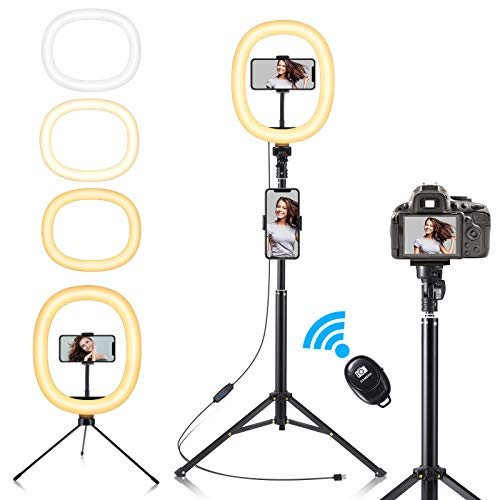 Fuloon Ring Light, 10' LED Luce ad Anello Treppiedi 3 Modalità Colore e 10 Luminosità,Lampada Anello con Telecomando Wireless per Tik Tok,Fotografia,Selfie,Foto,Youtube Video