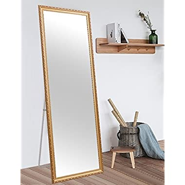 H&A Full Length Large Floor Mirror, 65 x22  Rectangle Wooden Finished Frame Mirror, Cheval Bedroom Free Standing Mirror, Dressing Mirror with Adjustable Stand for Bedroom, Champagne
