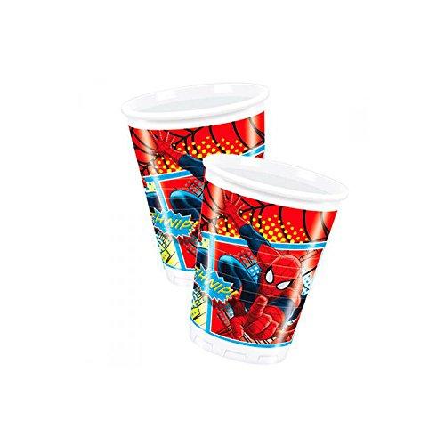 8 bicchieri di Spiderman Taglia Unica