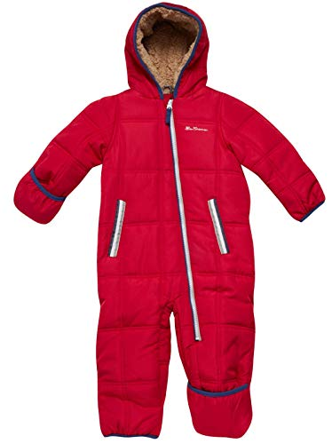 Ben Sherman Baby Boys Bubble Snowsuit Polar Fleece Lined Pram with Sherpa Fur Hood (Newborn/Infant), Size 24 Months, Scooter Red
