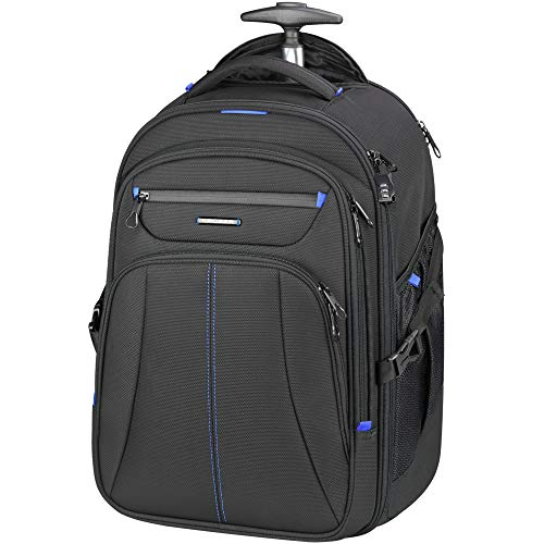 KROSER Rolling Laptop Backpack Wheeled Computer Backpack Fits Up to 17 Inch Laptop Check Point Friendly Water-Repellent Overnight Roller Case with RFID Pockets for Travel/Business/College-Black/Blue