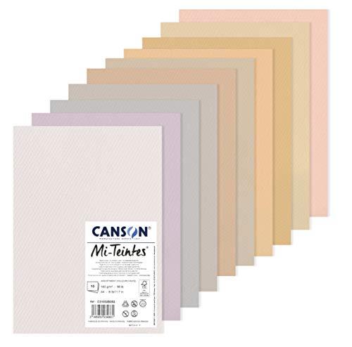 Canson Papier MI-farbig (Honigwaben), 10 Blatt, A4, 160 g/m², Pastellfarben