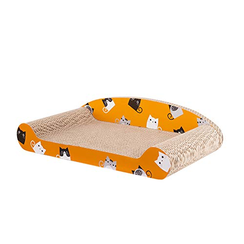 Aida Bz Cat Scratch Board ondulé affûteur de Papier avec Dossier Fleur OS canapé lit Pet Cat Fournitures,Orange