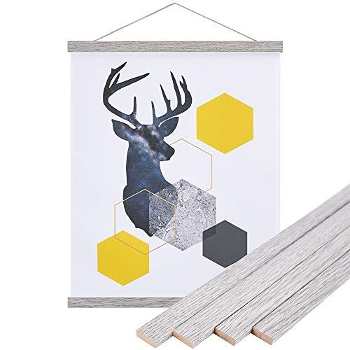 Benjia - Marco de pósteres magnéticos de madera ligera para colgar pósteres de madera, madera, Gris, 35 cm