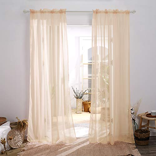 Deconovo Sheer Curtains 84 Inch Long Rod Pocket Voile Drape Curtains for Living Room Peach Pink 52x84 Inch 2 Panels