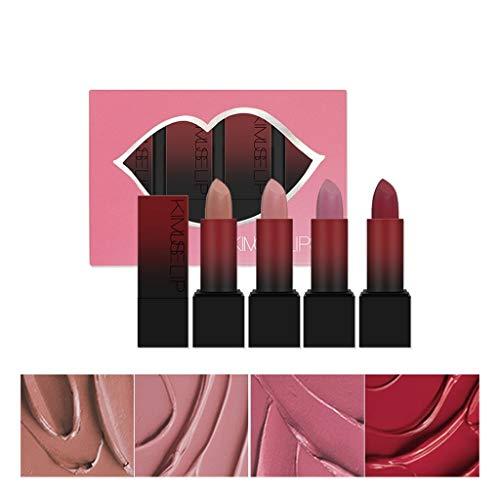 Momola 4pcs Rose Mist Lipstick Set Facile à Colorer Longue Durée Mat Rouge À Lèvres Maquillage Beauté