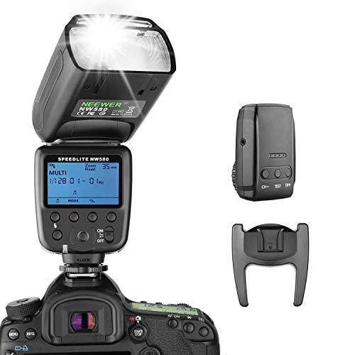 Neewer Funk Blitz Speedlite für Canon Nikon Sony Panasonic Olympus Fujifilm und andere DSLR Kameras mit Standard Blitzschuh, LCD Anzeige, 2,4G Funksystem und 15 Kanal Sender(NW580)