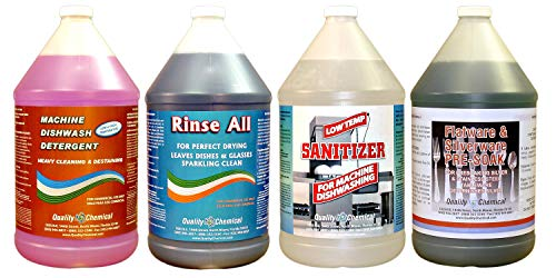 Commercial Industrial Dishwashing Kit - Includes One Gallon Each of Machine Dishwash, Rinse All, Low-Temp Sanitizer, and Silverare Pre-Soak