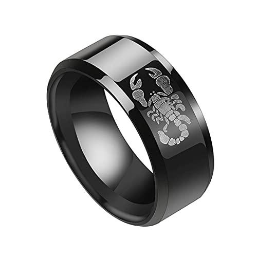 FLQWLL Anneau De Logo De Scorpion De Mode d'acier Inoxydable De 8MM, Cadeau Unisexe Noir De Bijoux d'anniversaire De Partie,13